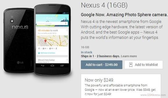 Google значительно снижает цены на смартфоны Nexus 4