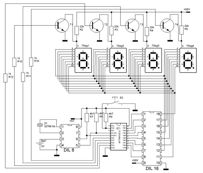 Схема ламповых часов