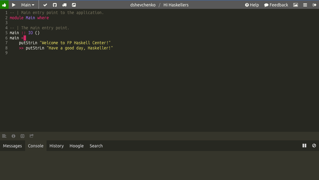 Haskell IDE от FP Complete