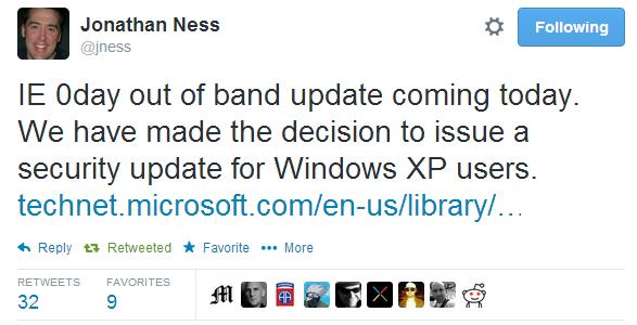 Microsoft исправит 0day уязвимость в Internet Explorer для Windows XP