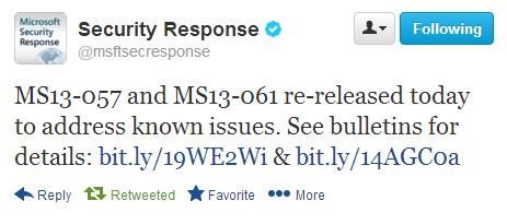 Microsoft перевыпускает MS13 057 и MS13 061