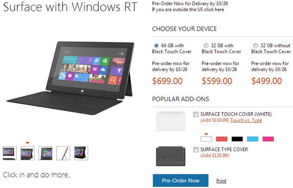 Минимальная цена Microsoft Surface в США — $499