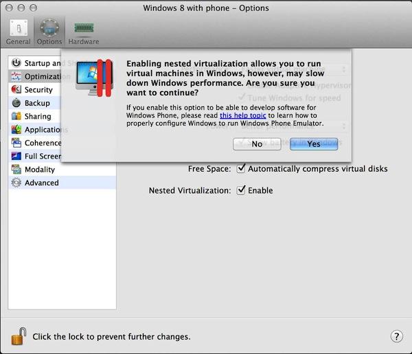 Nested виртуализация в Parallels Desktop 8 для разработки под Windows 8 Phone
