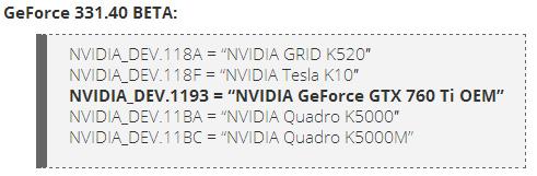 GeForce GTX 760 Ti OEM упомянута в новой версии драйвера видеокарт Nvidia