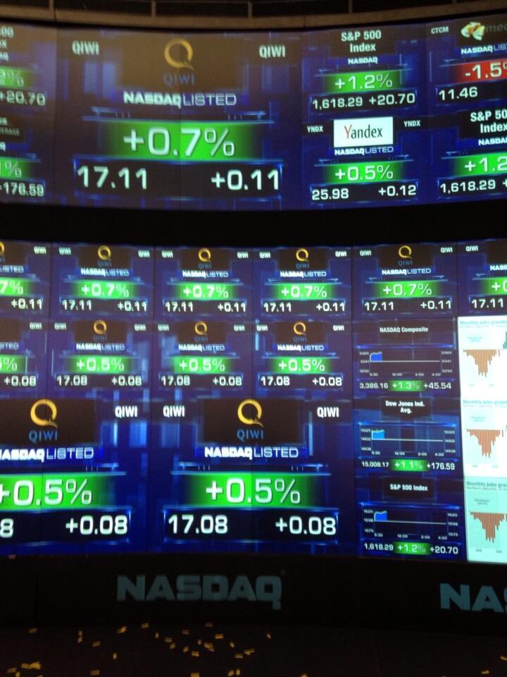 Qiwi оценили на Nasdaq в $884 миллиона