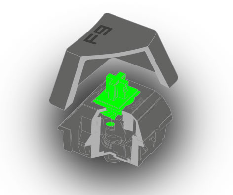 Клавиши Razer Mechanical Switch бывают двух типов: Razer Green и Razer Orange