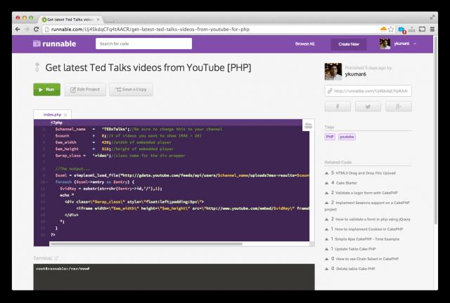 Runnable: поисковик по коду с его исполнением в VM