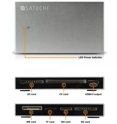 Satechi оснащает универсальное устройство для работы с картами памяти интерфейсом USB 3.0 и помещает его в алюминиевый корпус