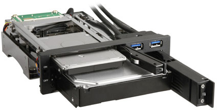 Sharkoon SATA QuickPort Intern Multi помещает в отсек типоразмера 5,25 дюйма два накопителя и два разъема портов USB 3.0