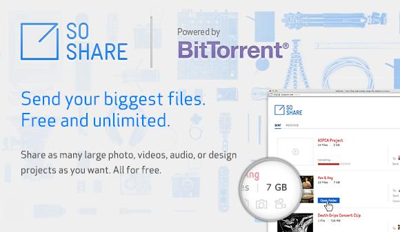 SoShare — 1 терабайт бесплатно от BitTorrent