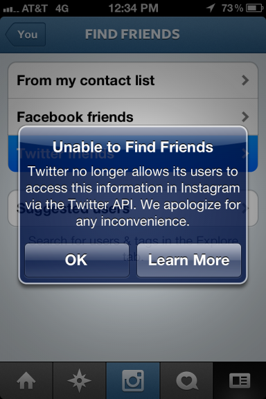 Twitter отключил функцию «Найти друзей» для Instagram