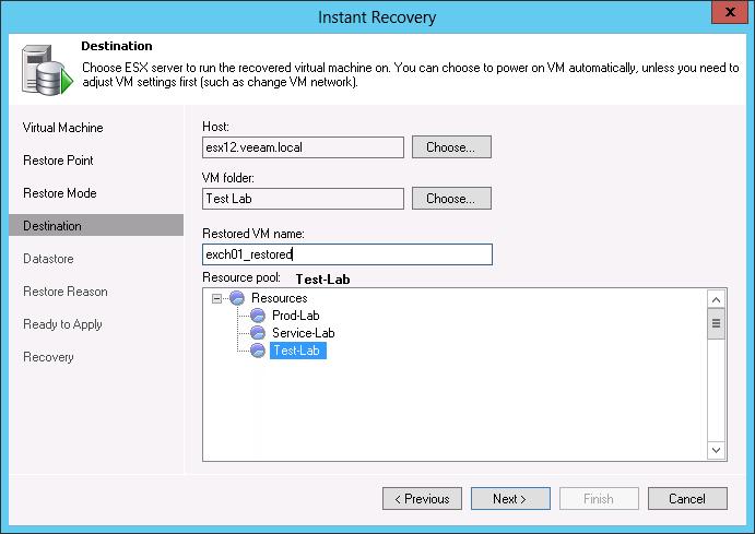 Рис. 3. Instant VM Backup (Мгновенное Восстановление Виртуальных Машин): Выбор места, куда восстанавливается ВМ