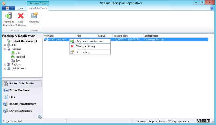 Рис. 4. Instant VM Backup (Мгновенное Восстановление Виртуальных Машин): Настройка миграции восстановленной ВМ в рабочую среду