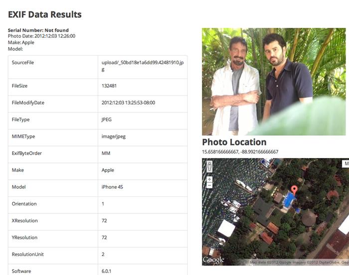 Vice.com рассекретил местоположение Джона Макафи через метаданные EXIF