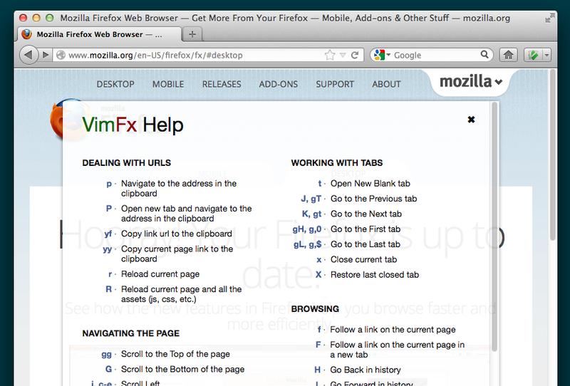 VimFx: Пользователям Firefox и фанатам Vim посвящается (Расширение для Firefox)