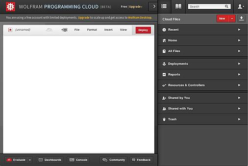 Type code in Wolfram Programming Cloud