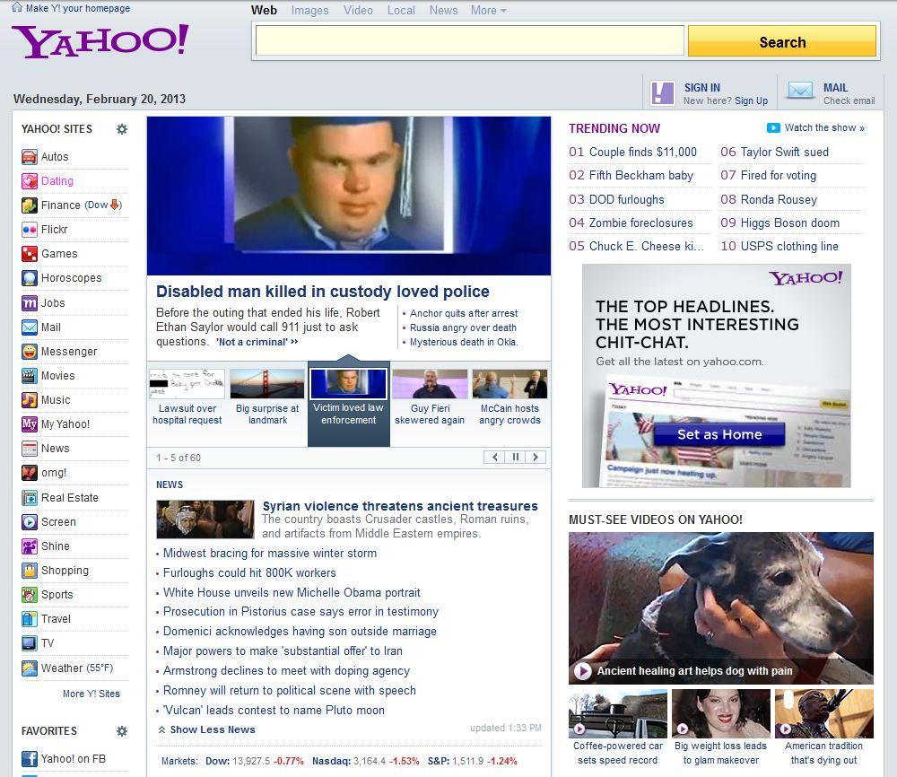 Yahoo выкатил новую главную в духе Рамблера