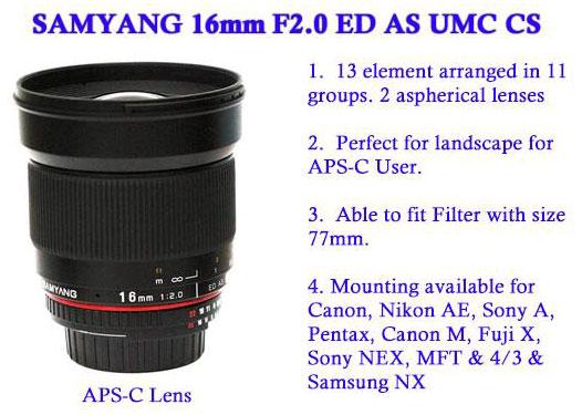 Анонсирован выпуск объектива Samyang 16mm f/2 ED AS UMC CS