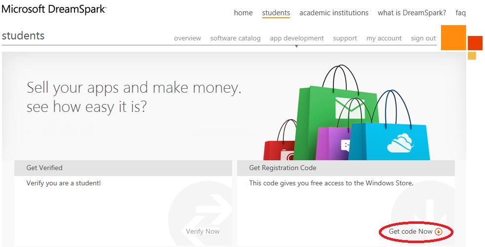 Бесплатная регистрация в Windows Store для студентов и выбор банковской карты