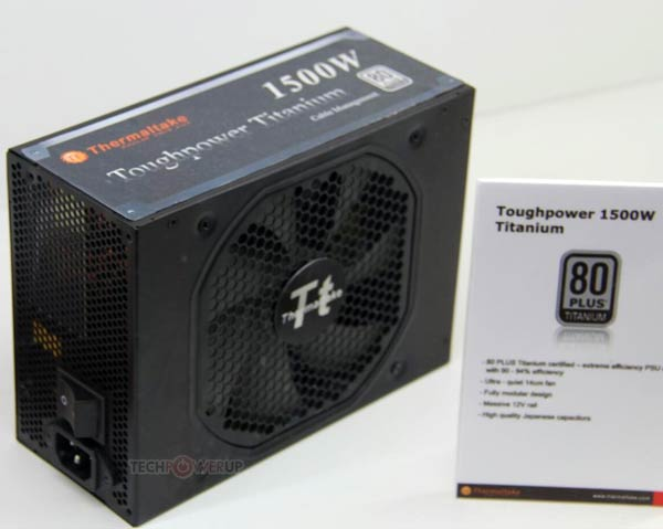 Блок питания Thermaltake Toughpower Titanium 1500W мощностью 1500 Вт имеет сертификат 80 Plus Titanium