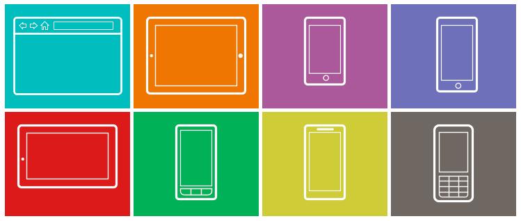 Бумажные макеты интерфейсов браузера, смартфонов и планшетов