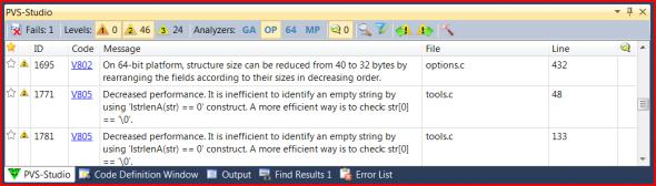 Рисунок 6 – Кнопка OP (оптимизация) появилась в PVS-Studio 4.60.