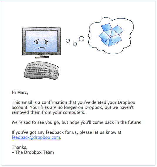 Грустный вхлам Dropbox