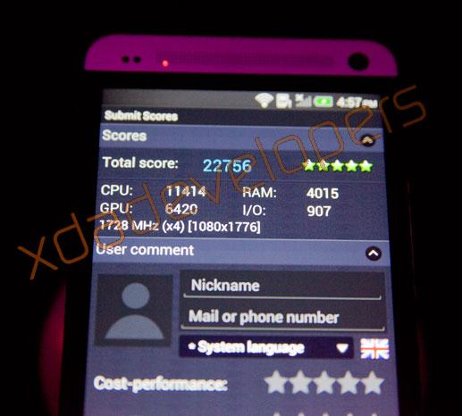 HTC One, результат в AnTuTu