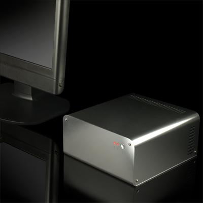 Габариты лаконичного по форме алюминиевого корпуса для ПК Abee E20 — 104 x 219 x 209 мм
