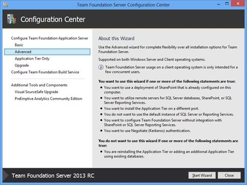 Хранение служебных баз Team Foundation Server 2013 RC на SQL Server 2014 СТР1