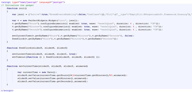Примерно так выглядит JavaScript код для работающих часов