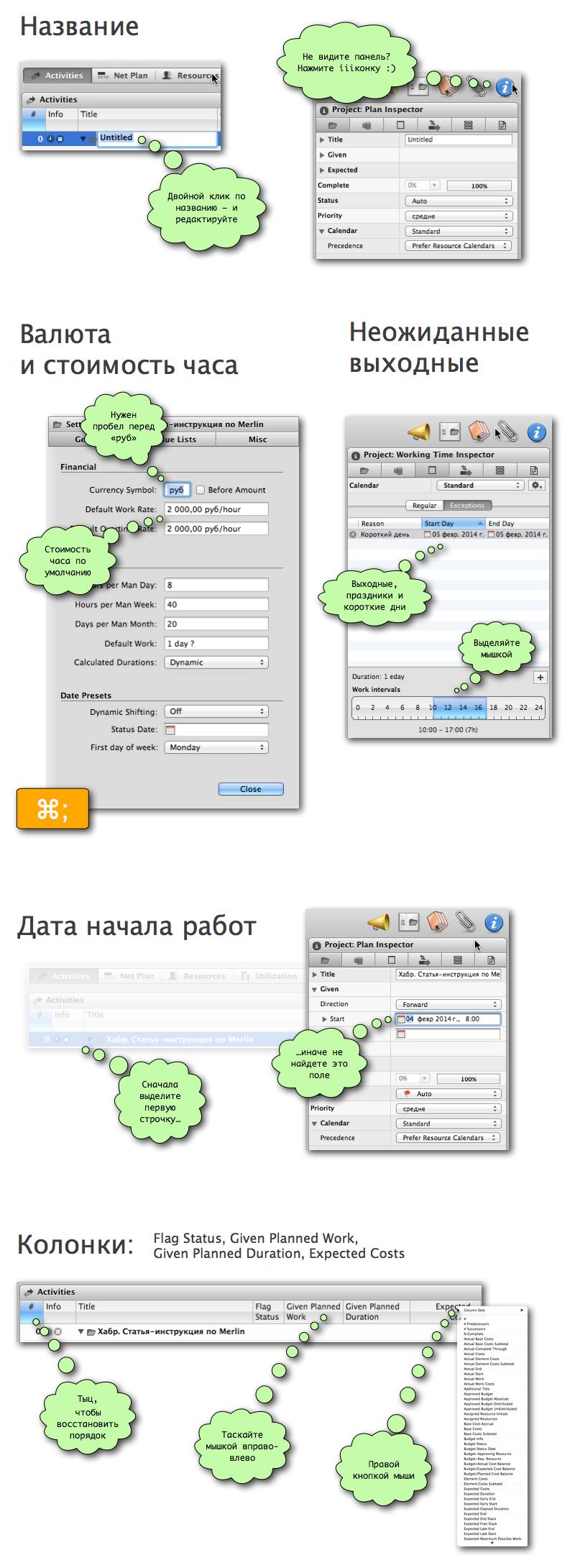 Как составить план бюджет проекта в Merlin (Mac OS)