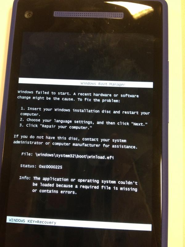 Как выглядит ошибка запуска системы Windows Phone 8