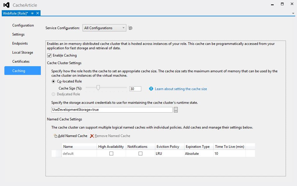 Кэширование в Windows Azure