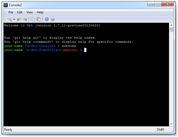 Красивая консоль для работы с git под Windows