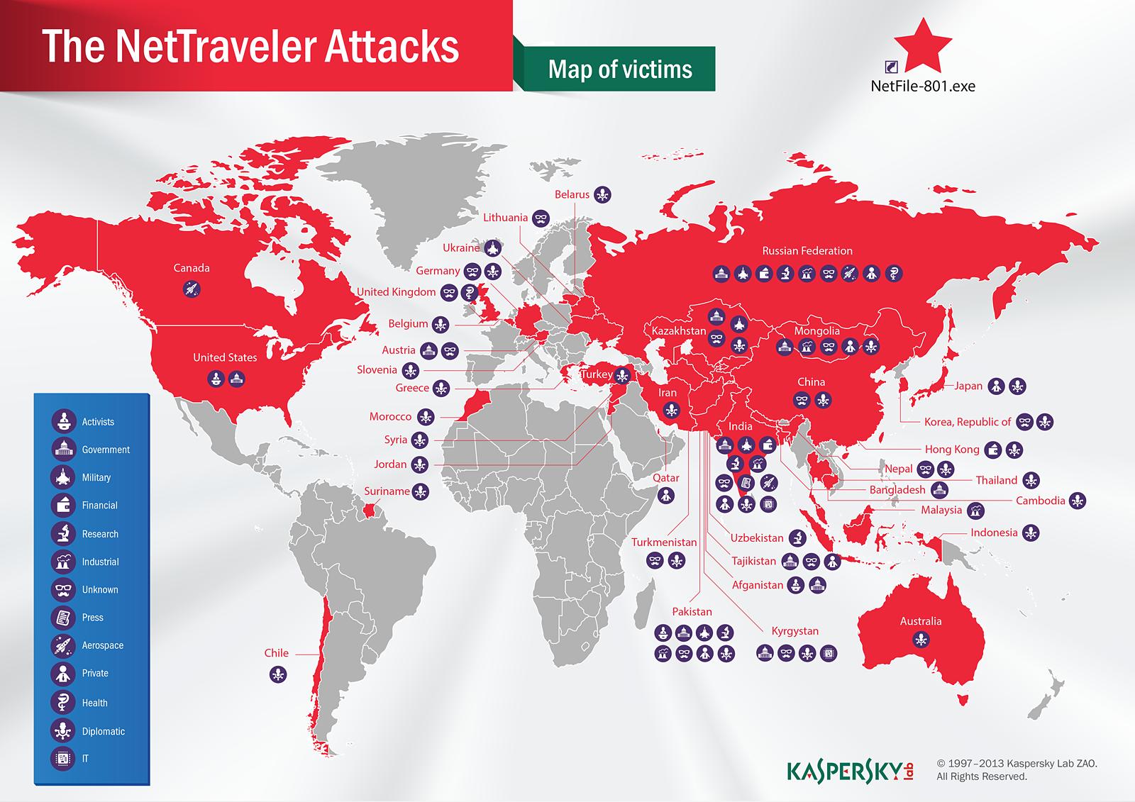 Лаборатория Касперского обнаружила глобальную сеть кибершпионажа, действующую в 40 странах мира