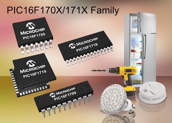 Представлено 11 моделей 8-разряжных микроконтроллеров семейства Microchip PIC16F170X/171X