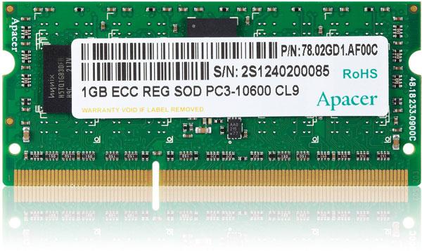Модули Apacer DDR3-1333 SO-RDIMM объемом до 4 ГБ соответствуют спецификации JEDEC