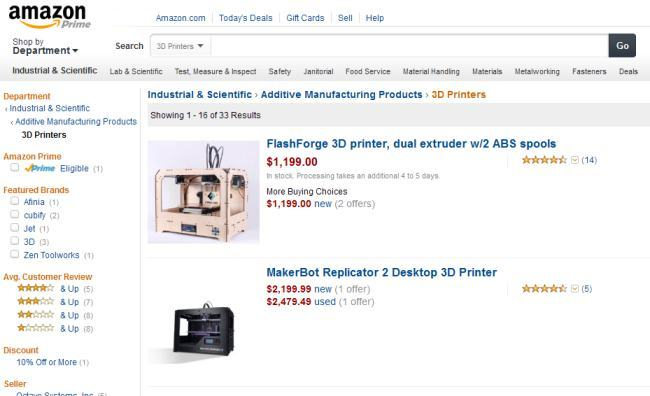 На Amazon появился раздел по продаже 3D принтеров