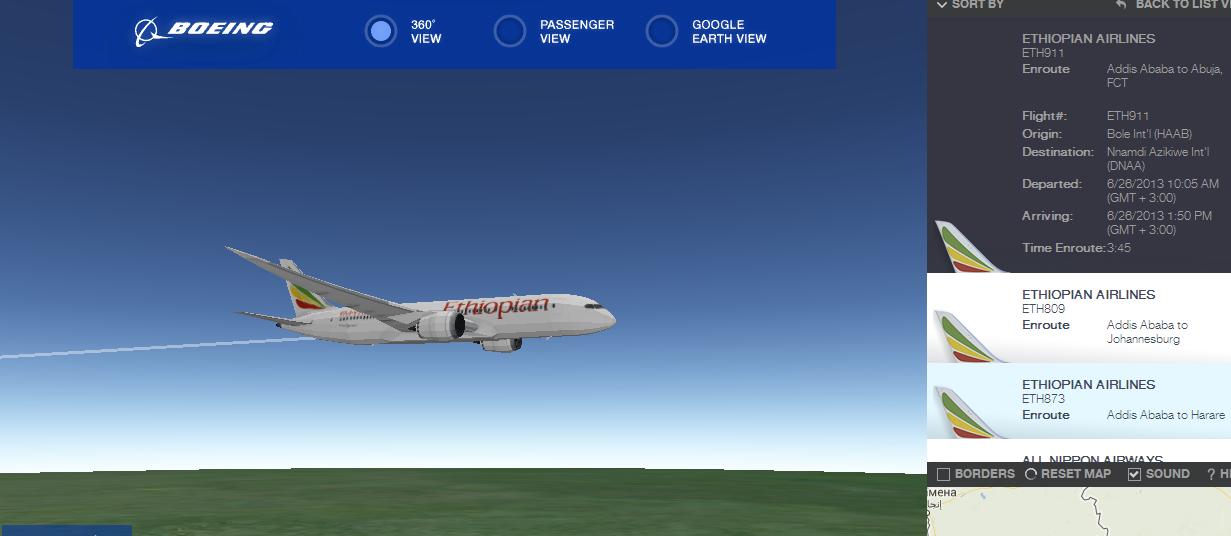 На сайте Boeing появилась возможность отслеживать положение самолета почти как в симуляторе