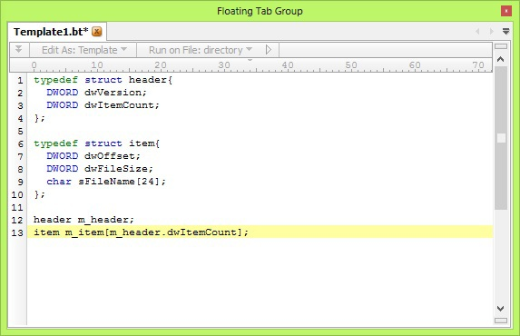 Навыки написания шаблонов и работы в hex редакторе 010 Editor