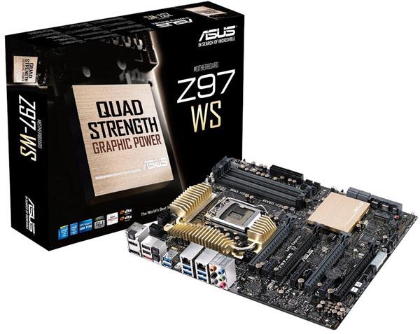 Системная плата Asus Z97-WS поддерживает конфигурации Nvidia 4-Way SLI и AMD 4-Way CrossFireX