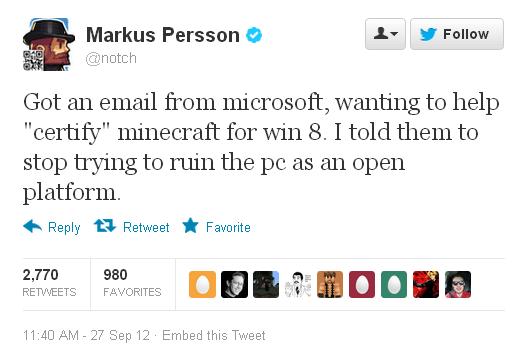 Нотч отказался сертифицировать Minecraft под Windows 8