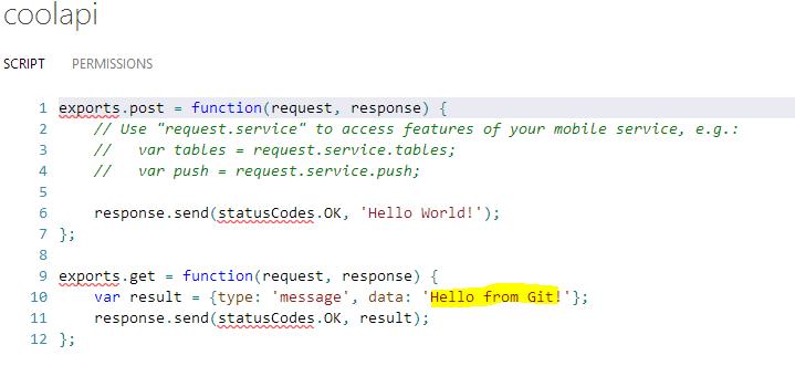 Код API на портале после работы git push