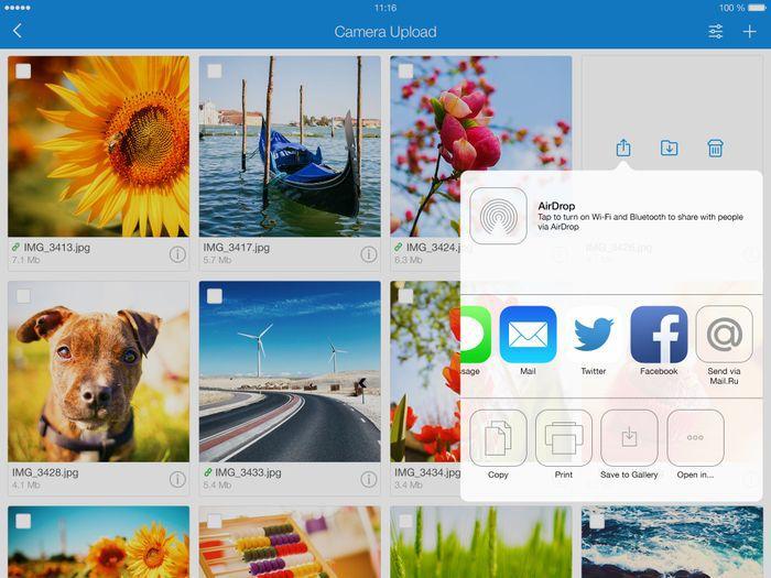 Облако Mail.Ru на iPad