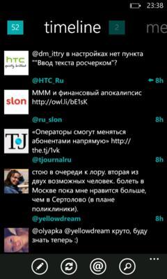 Обзор Twitter клиентов для Windows Phone 7