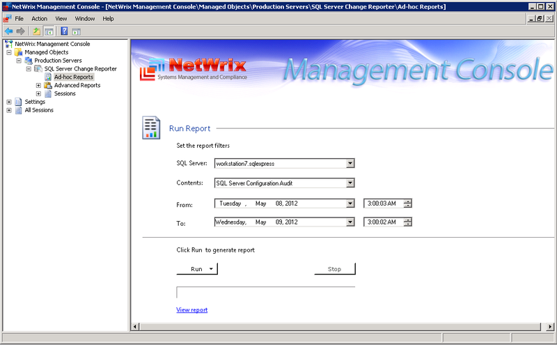 Обзор программы для аудита Microsoft SQL Server  NetWrix SQL Server Change Reporter 2.5