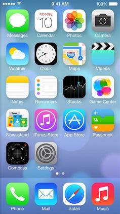 Скриншот домашнего экрана iOS 7