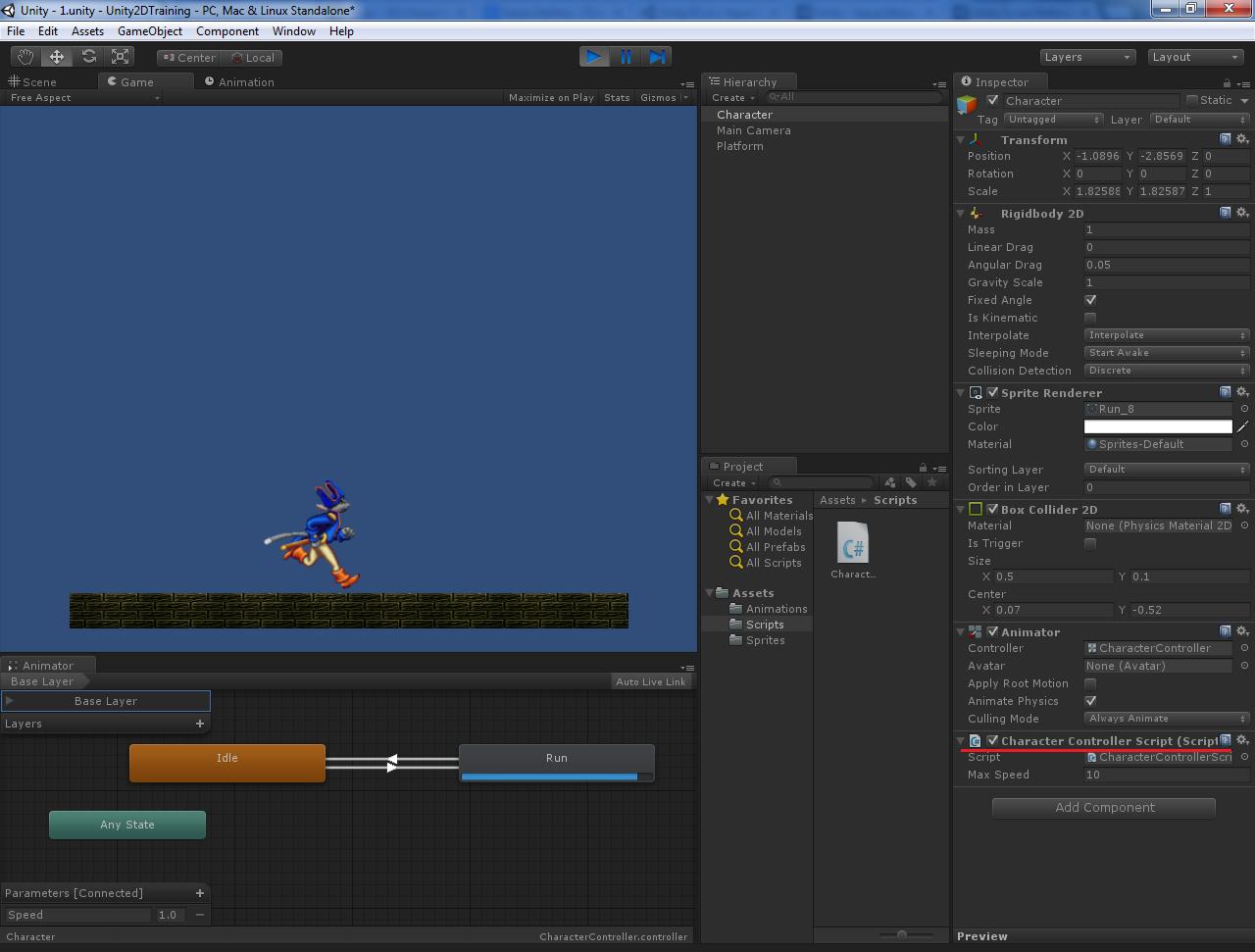 Основы создания 2D персонажа в Unity 3D 4.3. Часть 2: бегущий персонаж