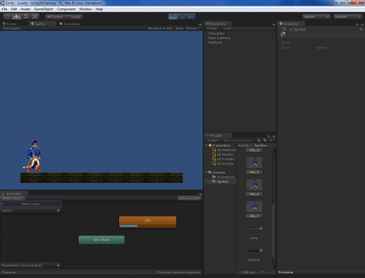 Основы создания 2D персонажа в Unity 3D 4.3. Заготовка персонажа и анимация покоя